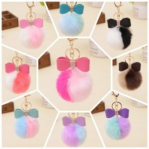 d58abaecff59 Accessories - BUNDLE Pom  2   8 - Fur Pom Bow Handbag Charm